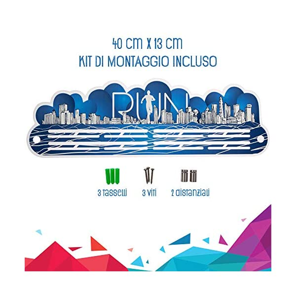 Porta Medaglie Running | Medagliere da Parete Blu per Uomo e Donna | 25 Medaglie 4 spesavip