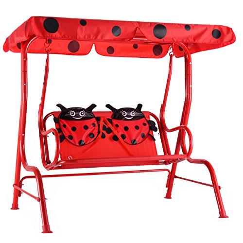 COSTWAY Kinder Hollywoodschaukel Kinderschaukel Gartenschaukel Garten Schaukel Gartenliege Schaukelbank Gartenbank mit Sonnendach 2-Sitzer Marienkäfer rot