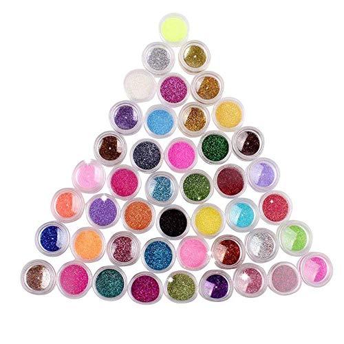 TOPFAY 45 Lidschatten Farbpigment Staub Generator glänzende Nagelkosmetik Blitz auf Gel UV-Acryl-Kunst-Dekoration angeordnet