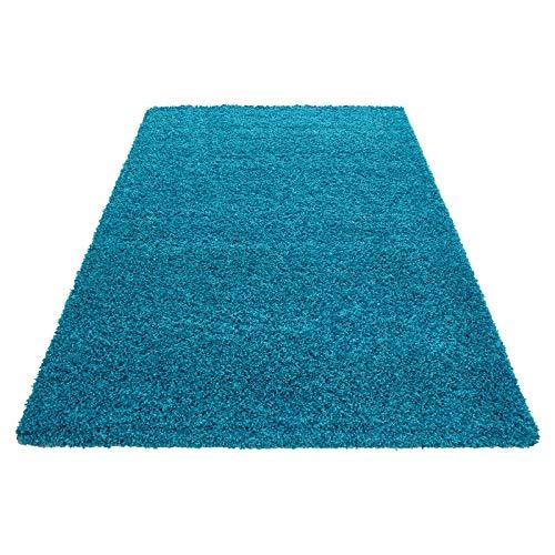 Hochflor Shaggy Teppich für Wohnzimmer Langflor Pflegeleicht Schadsstof geprüft 3 cm Florhöhe Oeko Tex Standarts Teppich, Maße:120x170 cm, Farbe:Türkis