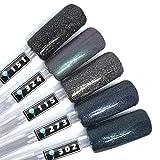 Color Gel 5er Set (je 5ml): Dark Nights Glimmer - Gel schwarz, Gel schwarz glitter, Gel dunkelblau, Gel blauglitter