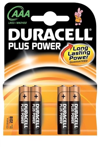 Duracell Plus Power Battery Alkaline AAA Size 1.5V Ref 81275396 [Pack 4] Alkaline-pack