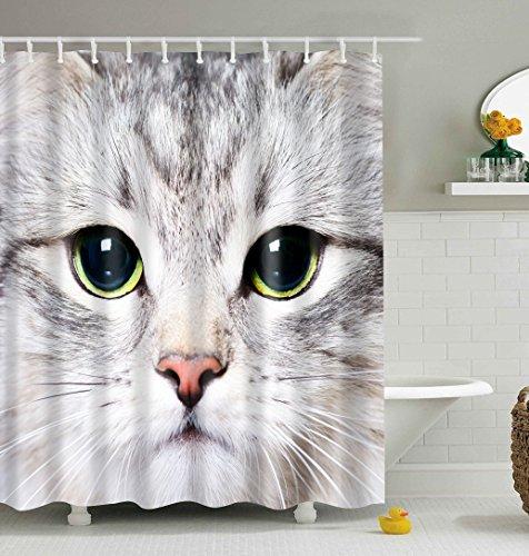 Katze Badezimmer Duschvorhang, Anti-Schimmel 100% Polyester Badewanne Duschvorhänge, 3D Effekt und Digitaldruck, Wasserdicht mit 12 weißen Haken, 180 x 180cm