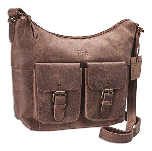 Brunhide - Cartable en bandoulière - cuir de buffle/deux grandes poches à l'avant - # 155-300 Coffee