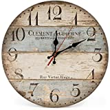 "LOHAS Home 30cm Silent Wooden Round Wall Clock, 12"" Vintage Rustic Shabby Chic Style,Green Stripes Arabic Numerals Design Wooden Round Decorative Wall Clock (Victor Hugo)"