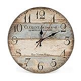 LOHAS Home 30cm Vintage Horloge Murale Rustique, silencieuse en Bois Cadran Horloge minuteur pour la Maison Salon Chambre Bureau Café Bar Decor (Victor Hugo)