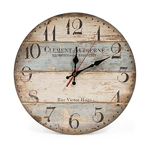 El reloj de pared elegante de la marca LOHAS Home, compuesto de un tablero de fibra de madera MDF ecológico con lámina decorativa en diseño Shabby Chic, es el mayor atractivo de sus viviendas.  Ideal para su sala de estar, dormitorio o cocina. Una ve...
