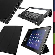 iGadgitz  U2899 - Funda Eco Piel Para Sony Xperia Z2 10.1 Tablet SGP511 SGP521 SGP512 Con Reposo/ Activación y Protector Pantalla, Negro
