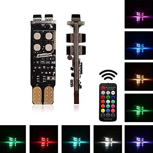 Haichen 2 pcs 194 168 2825 T10 LED RVB multicolore lumière de voiture éclairage Intérieur lecture Tableau de bord ampoules latérales Feux de gabarit avec couleurs Télécommande