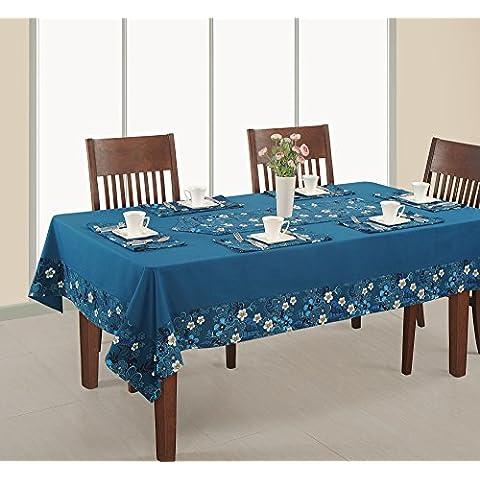 Impreso y sólida Cubierta de mesa rectangular, 60x84 pulgadas, RDSL-1416SP, azul, 100% algodón pato,