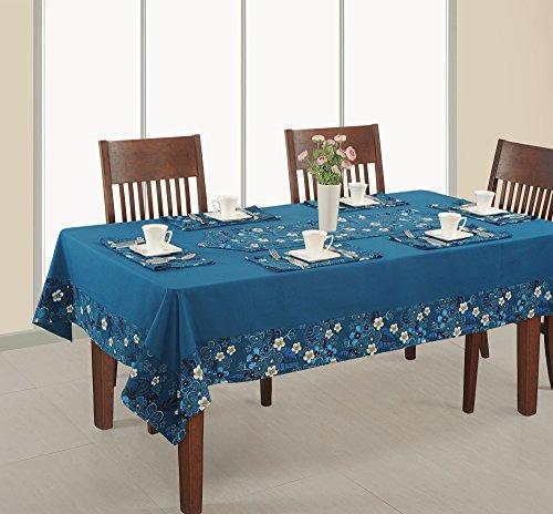 Gedruckt und massiver Tisch, 6-Sitzer 152,4x 228,6cm, Ente Baumwolle Tischdecke, rds16–1416sp, blau, baumwolle, blau, 68 x 50 Inch (Glitter Leinen Tischdecke)