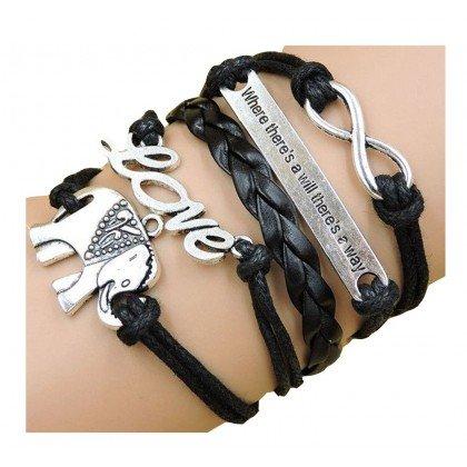 BestOfBijoux - Armband - Armband Elefant, Liebe, Wille und Unendlich - Rhodium - 16,5 cm + 5cm Verlängerung chainette