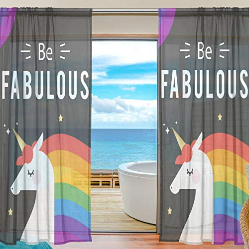 Curtains Panels Be Fabulous Unicorn Window Sheer Panels for Living Room Drapes 84 inch Long, Set of 2 Panels Fabulous Sheer