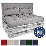 Beautissu ECO Style Lot de 2 Coussins pour Canape Euro Palette - Set de 2 Dossiers de 60x40x10-20cm chacun - Gris Clair