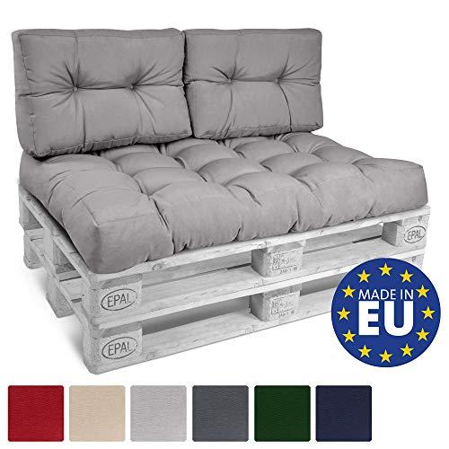 Beautissu Palettenkissen ECO Style 2er Set Rückenkissen 120x40x10-20 cm Outdoor Palettenauflage Palettenpolster in Hellgrau