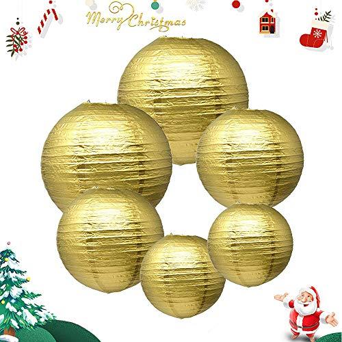 (IMMEK Silberpapier Runde Laternen für Geburtstag Hochzeit Dekorationen Handwerk (1-Pack von 6) (Gold))