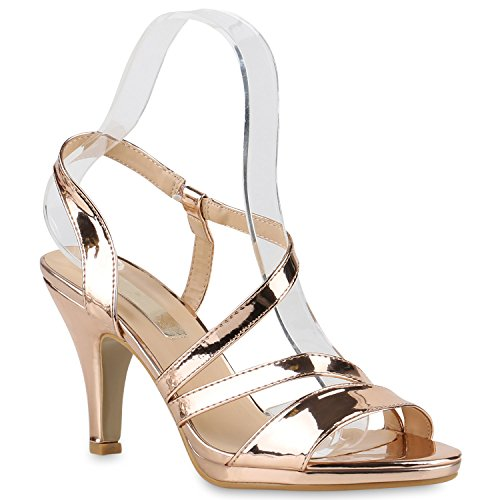 Damen Riemchensandaletten | Glitzer Sandaletten Metallic | Stilettos High Heels | Sommer Party Schuhe | Abiball Hochzeit Brautschuhe Rose Gold Brooklyn