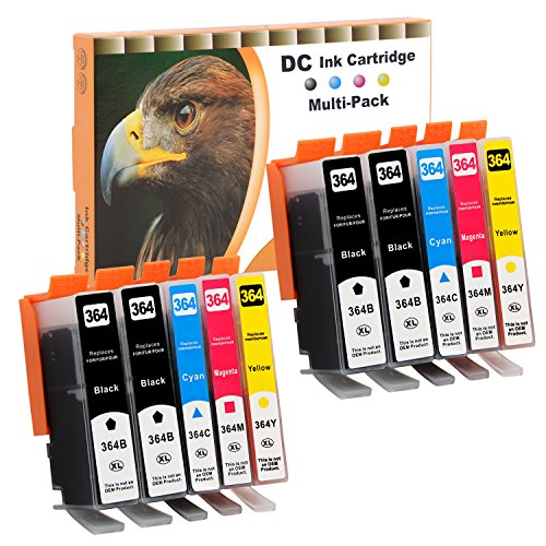 D&C 10 Druckerpatronen komp. für HP 364 Deskjet 3070A (CQ191B), 3520 (CX052B), 3522 (CX055B), 3524 (CX054B), HP Officejet 4620 (CZ152B), 4622 (CZ296B), Photosmart B109d, 5510, 5514, 5515, 5520, 5522, 5524, 6510, 6520, 7510, 7520 mit Chip