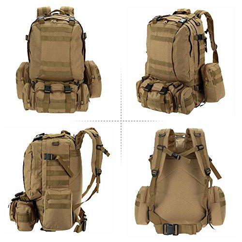 Lixada Multifunktions Militärischen taktischer Rucksack mit MOLLE Gurte Rucksack Sport Camping Reisen Wandern Tasche (Schwarz) Khaki