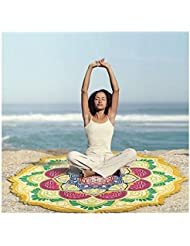 nalmatoionme Fashion estilo indio Mandala Lotus Yoga Mat Toalla de playa manta, color amarillo