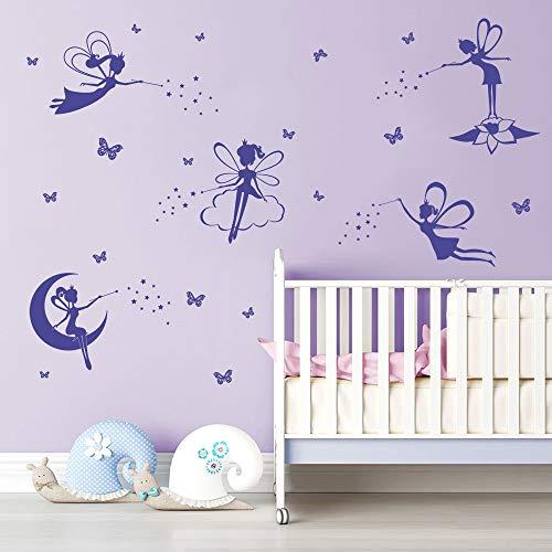 Feen Violet Silhouette Wandaufkleber Wandsticker Tinkerbell Schmetterlinge Wanddeko für Kindergarten Kinderzimmer Mädchen ()