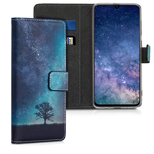 kwmobile Samsung Galaxy A70 Hülle - Kunstleder Wallet Case für Samsung Galaxy A70 mit Kartenfächern & Stand - Galaxie Baum Wiese Design Blau Grau Schwarz