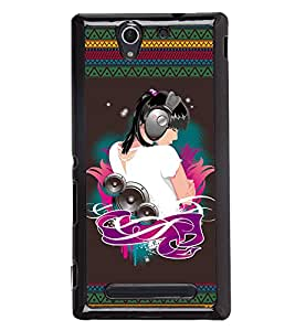 Printvisa 2D Printed Music Girl Designer back case cover for Sony Xperia C3 - D4185