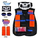 TedGem Nerf Taktische Weste Kit, Kinder Taktische Weste Jacke für N-Strike, Nerf Zubehör Set mit 30 Darts Nachfüllpack, 2 Clip für 12 Darts, 2 Armbände für 8 Darts, Gesichtsmaske und Nerf Brille