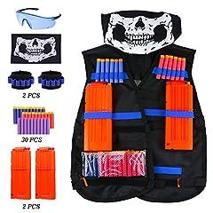 Idea Regalo - TedGem Gilet tattico per Nerf N-Strike, Kit di giubbotto tattico per bambini per Nerf con 30 Freccette di schiuma, 2Pcs 12-Dart clips, 2Pcs 8-Freccette cinturino da polso, Maschera viso e occhiali