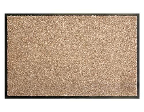 Primaflor - Ideen in Textil Schmutzfangmatte CLEAN – Creme 60x90 cm, Waschbare, Rutschfeste, Pflegeleichte Fußmatte, Eingangsmatte, Küchenläufer Matte, Türvorleger für Innen & Außen