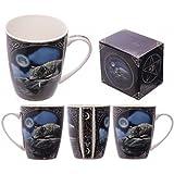 1 x Lisa Parker Wolf Lying by Lake design - bone china mug in presentation box