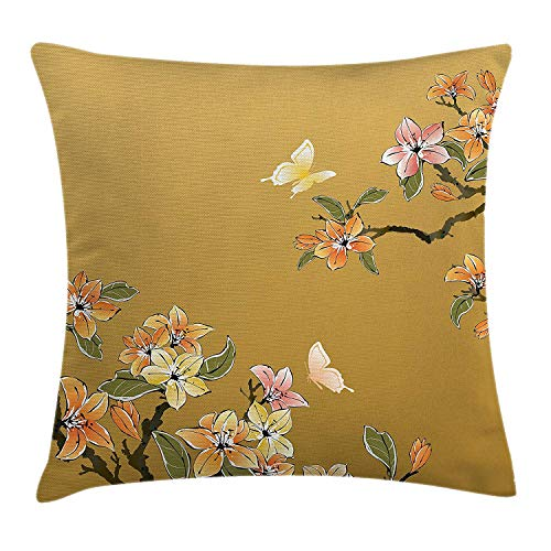 Princess House Heritage (ziHeadwear Traditional House Decor Throw Pillow Cushion Cover by, Ancient Chinese Ink Paint Butterfly Plum Motif Folk Heritage Image, Decorative Square Accent Pillow Case, 18 X18 Inches, Tan Mustard)