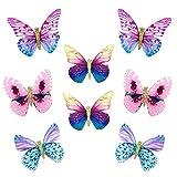 mciskin - Pinzas para el pelo con diseño de mariposas y purpurina, para mujeres y niñas (8 unidades, mariposas coloridas)