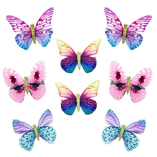 mciskin Schmetterling-Haarclips aus Chiffon,Damen Mädchen Kinder Haar Clips 3D Schmetterling Haarspange,Kopfschmuck für Braut(8 Stück)