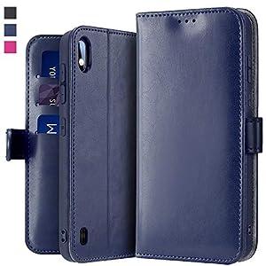 OJBKase Hülle Kompatibel mit Galaxy A10 / M10, Premium PU Leder Handy Schutzhülle [Standfunktion] [Kartensteckplatz] [Magnetisch] Handyhülle für Samsung Galaxy A10 / M10 (Blau)