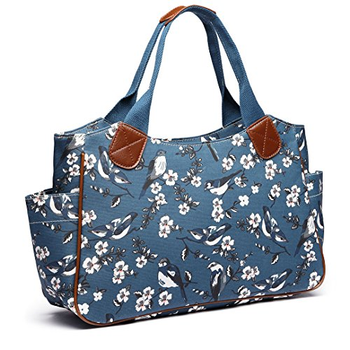 Miss Lulu Ladies Matt Oilcloth bolso moda patrón Hombro bolsas para mujeres niñas (1105-16J D Azul)