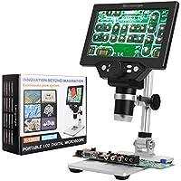 7 Pollici LCD Display 1200X Microscopio Digitale Regolabile con Batteria con 8 Luci a LED per Dimostrazione Didattica del Laboratorio Riparazione del Telefono Cellulare