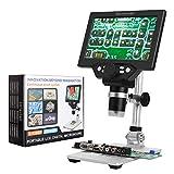 HD 7 Zoll LCD Display Mikroskop 1080P 1200X mit Aluminiumlegierung Metallständer Wiederaufladbare Batterie Digital Mikroskop Tragbar Mikroskope fur 3C Repair können Sie auch den Mikrokosmos erkunden