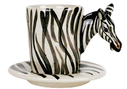 Zebra Espresso-Tasse handgefertigt Keramik Weiß gestreift 56g (8cm x 5cm) - 5 X 8 Zebra