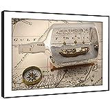 BFC658C gerahmtes Bild Druck Wandkunst - Ozean Karte Kompass Flasche Schiff Modernes Malerische Landschaft Wohnzimmer Schlafzimmer Stück Wohnkultur Leicht Hang Guide (58X41cm)
