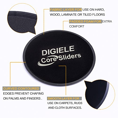 Gliding-Discs-2-Dual-Sided-Core-Sliders-by-DIGIELE-Sliding-Discs-for-Use-on-Carpet-Hardwood-Floors-Exercise-for-Full-Body-Workout-CrossFit-Cross-Training-Sliders-Gym-and-Home-Fitness-Equipment
