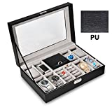 OTraki Uhrenkoffer 8 Slot PU Uhrenschatulle Leder 2 Slot Ring Uhrenbox Herren 30 x 20 x 8cm Watch Box mit Klarglas Display Boxes Leather Elegantes Aussehen Damen WatchBox Schwarz für Mens / Women