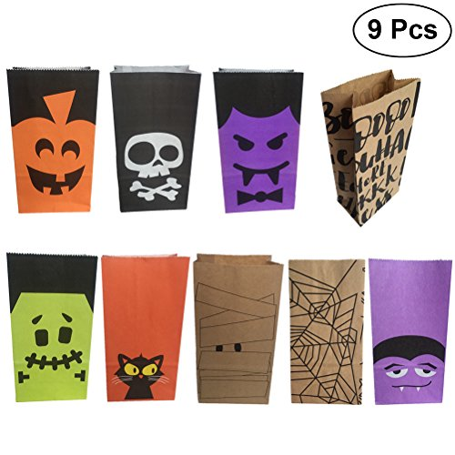 alloween Papier Süßigkeiten Taschen Süßigkeiten Geschenk Goody Taschen Party Favors Papiertüten für Kinder Halloween Party Dekorationen Supplies (Verschiedene Muster) ()