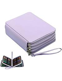 Pawaca Trousse à crayons de couleur en similicuir,184rangements, capacité XXL, étanche, 4 étages, Toile, violet clair, 19.5Ã-12.5Ã-9cm