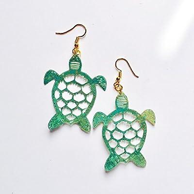 Boucles d'oreilles aux tortues - Boucles d'oreilles amoureuses de la mer - Bijoux à la mode - Bijoux tortues vertes - Tortues marines - Boucles d'oreilles nouveautés bébé tortues