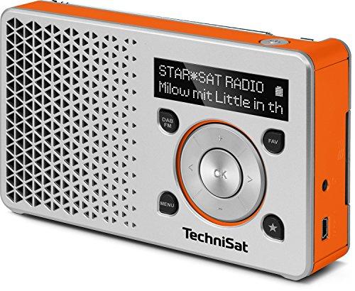 TechniSat Digitradio 1 Empfangsstarkes Radio (DAB+, UKW, Klein, Tragbar, Akku, Display, Küchenradio, Kofferradio Made in Germany), silber-orange (Radios)
