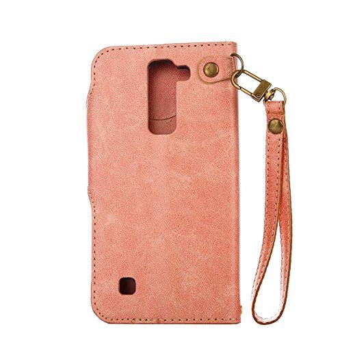 YHUISEN LG K7 case, Luxus Retro Rose Premium PU Leder Magnetverschluss Flip Wallet Schutzhülle mit Lanyard für LG K7 / LG Tribut 5 ( Color : Pink ) Pink