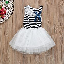 Toddlers Princess Dress, Transer® Baby Lace Trim Striped Dress 0-4 Years Girls Clothes Infant Kids Tutu Summer Dress Bowknot Decorated Sleeveless Swing Dance Dresses