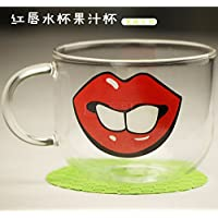 Labbra Rosso Bicchiere Di Latte Acqua Succo Modello Della Tazza