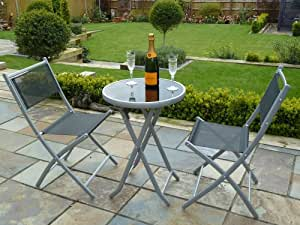 UK-Gardens 3 Piece Bistro Set for 2 - Folding Garden Patio Set For 2 with 1 table and 2 chairs - Black Weatherproof Textoline